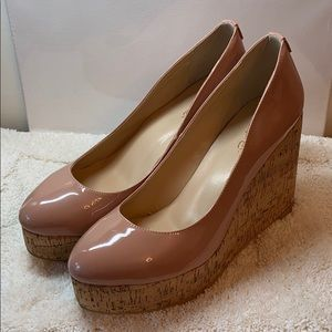 Shoes - Patent Leather Platform Wedge High Heel Shoes